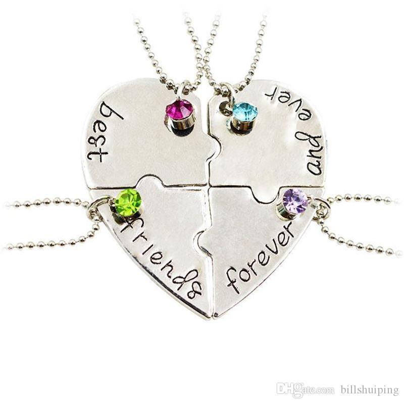 83005d1abe561 Hand Stamped Best Friends Forever 4 Piece Heart Puzzle Piece Necklace Set  Popular jewelry for women