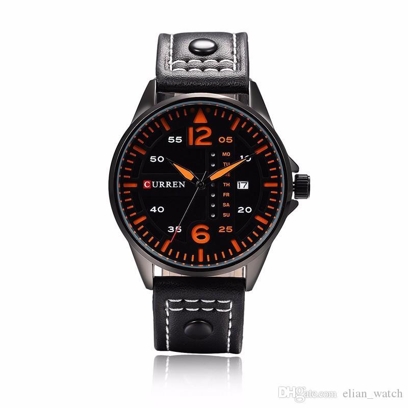 17d5fa905c3 Compre Curren Dos Homens Esportes Relógios De Quartzo Mens Relógios Top  Marca De Luxo De Couro Relógios De Pulso Relogio Masculino Homens Curren  Relógios ...