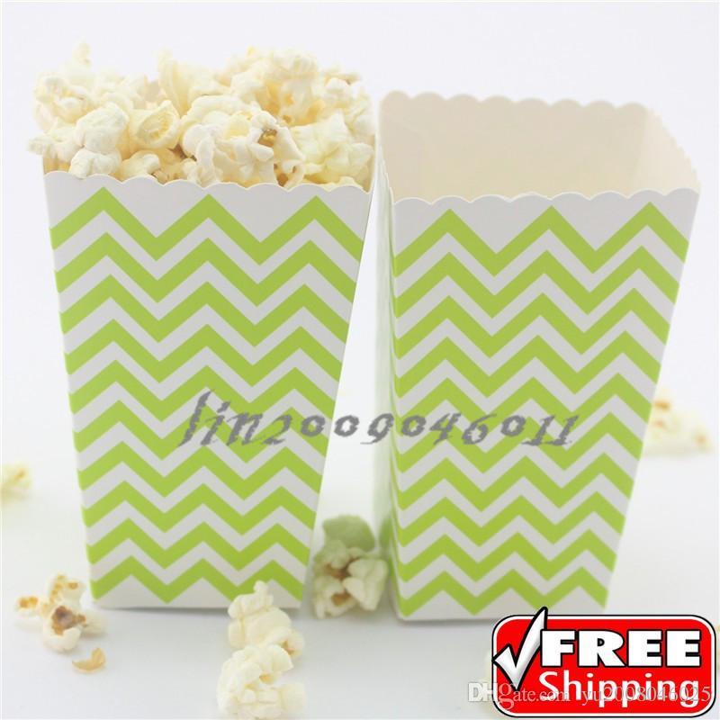 36pcs lime green chevron wedding popcorn partyzig zag lolly food favor gift candy snack paper treat buckets bulk