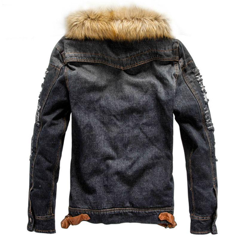 buy online 14cb0 5cc9e Zustrom von Men Casual Jeansjacke Winter Dicke Jeansjacke Retro Jacke  Nagymaros Kragen Cashmere Coat