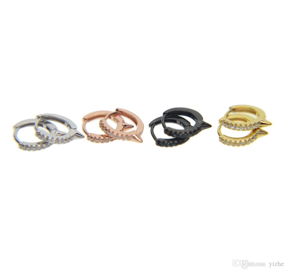2017 neu kommen 10mm kreis huggie hoops 925 sterling silber 4 farben micro pave cz spike einzigartiges design großhandel mini hoop ohrring