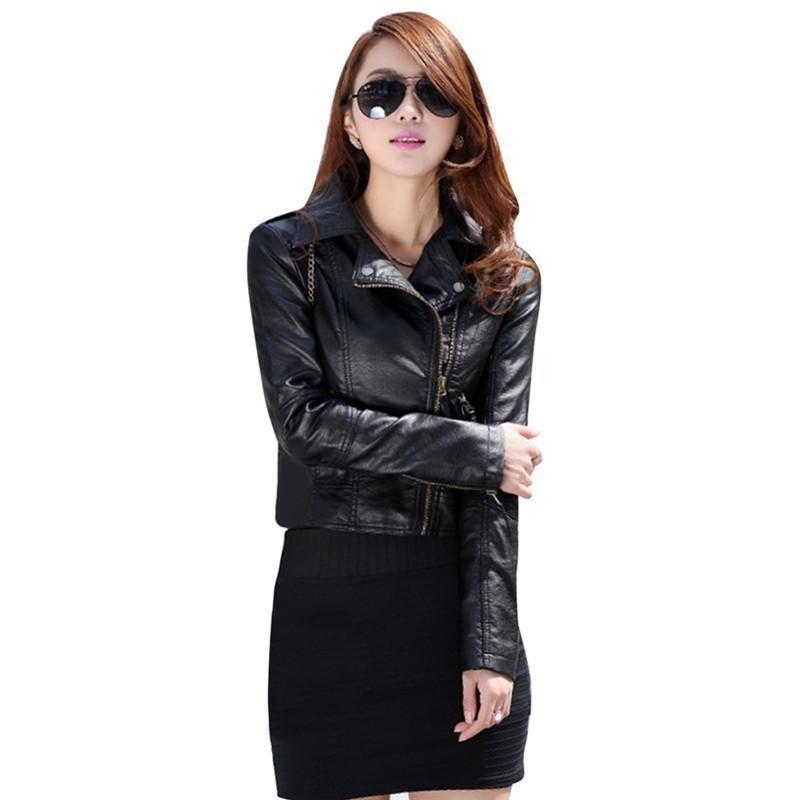 80beabc6a1167 Women Short Jacket Coat Autumn PU Leather Spring Slim Biker ...