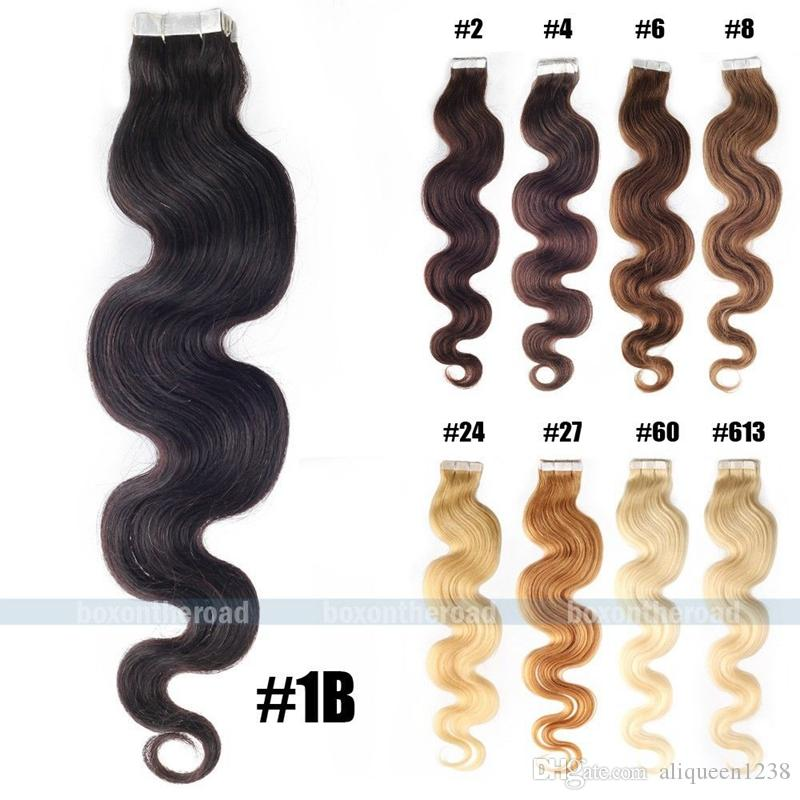 Remy Malaysian Tape In Human Hair Extensions #613 Bleach Blonde 10A Unprocessed Skin Weft PU Hair Malaysian Body Wave Virgin hair set