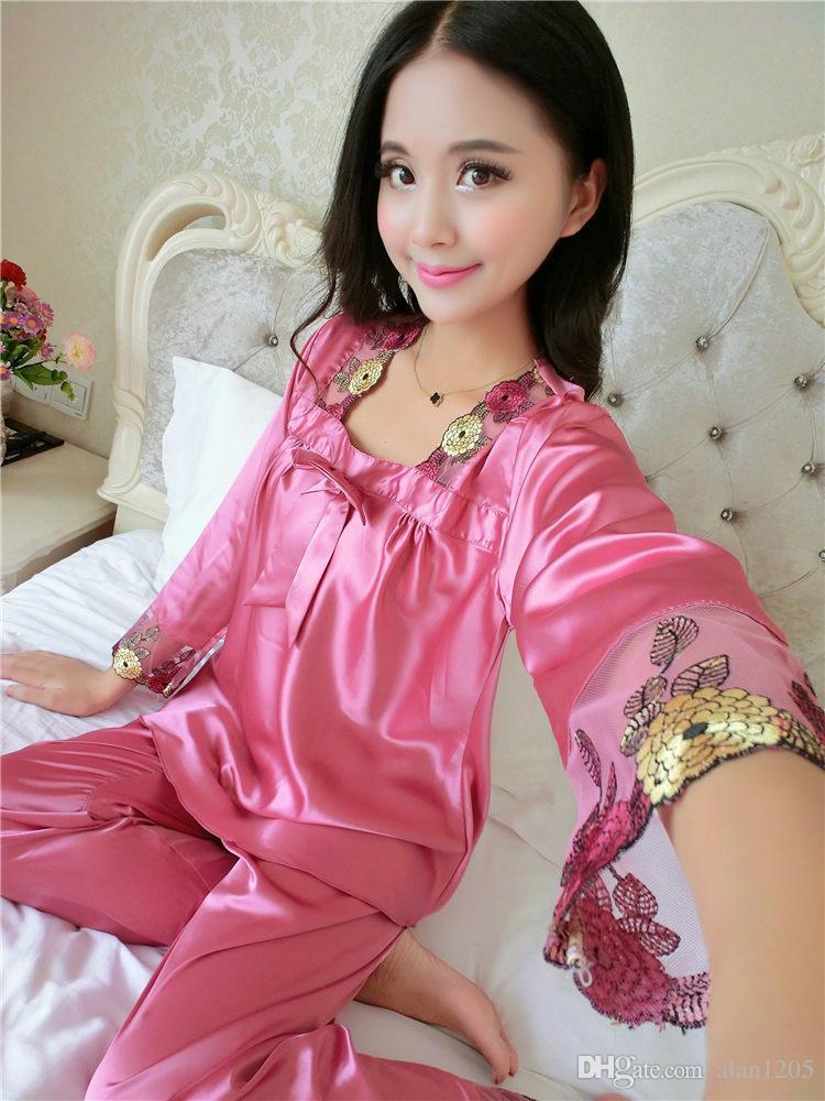 4a9149da9 ... New Style Women Silk Pajamas Sets 2015 Spring Summer Design Elegant  Lace Embroidered Female Satin Pajamas ...