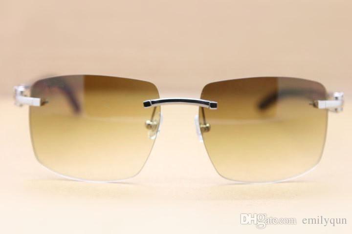 Brand Sunglassses White Black Buffalo Horn Okulary Brązowe Obiektyw Drymless Okulary Okulary Buffalo Horn Okulary Okulary Okulary Mężczyźni Kobiety