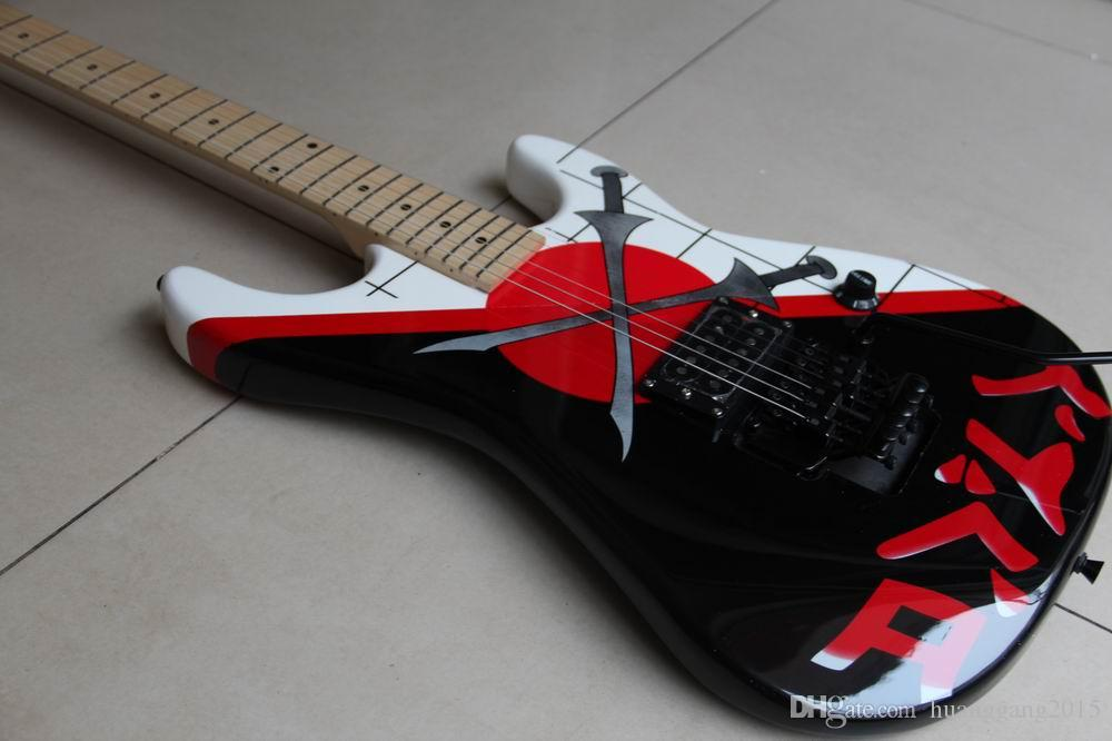 Wholesale New Arrival Electric Guitar Cross sword On Body with Black Floyd Rose tremolo Top quality in black 120303