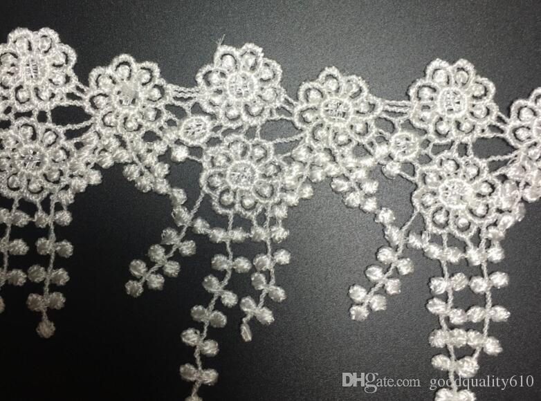 15Yard White Flower Tassel Cotton Lace Fabric Trim Ribbon For Apparel Sewing DIY Bridal wedding Doll Cap Hair clip