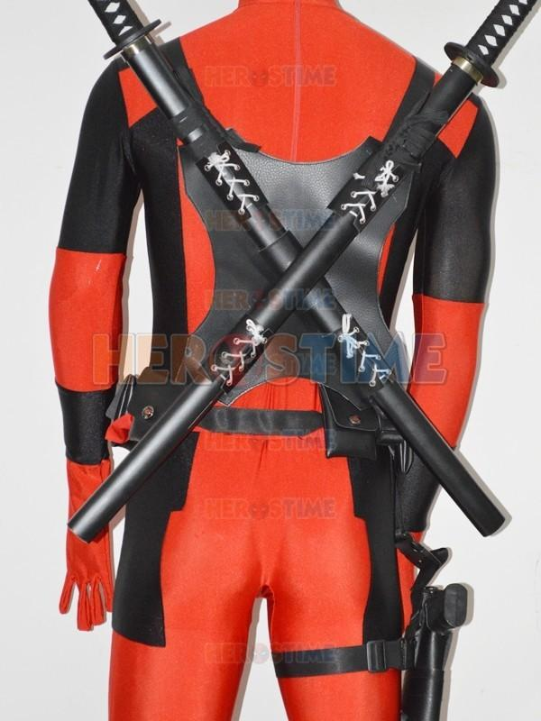2 pieces hot sale deadpool classic halloween costumes cosplay accessories high quality wood sword women men kids - Classic Mens Halloween Costumes