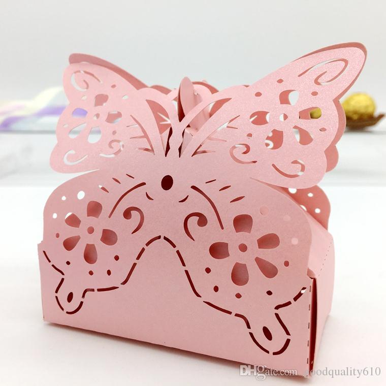 Type_2 Découpé Au Laser Creux Papillon Boîte De Bonbons Chocolat Boîtes Pour Fête De Mariage Bébé Douche Faveur Cadeau