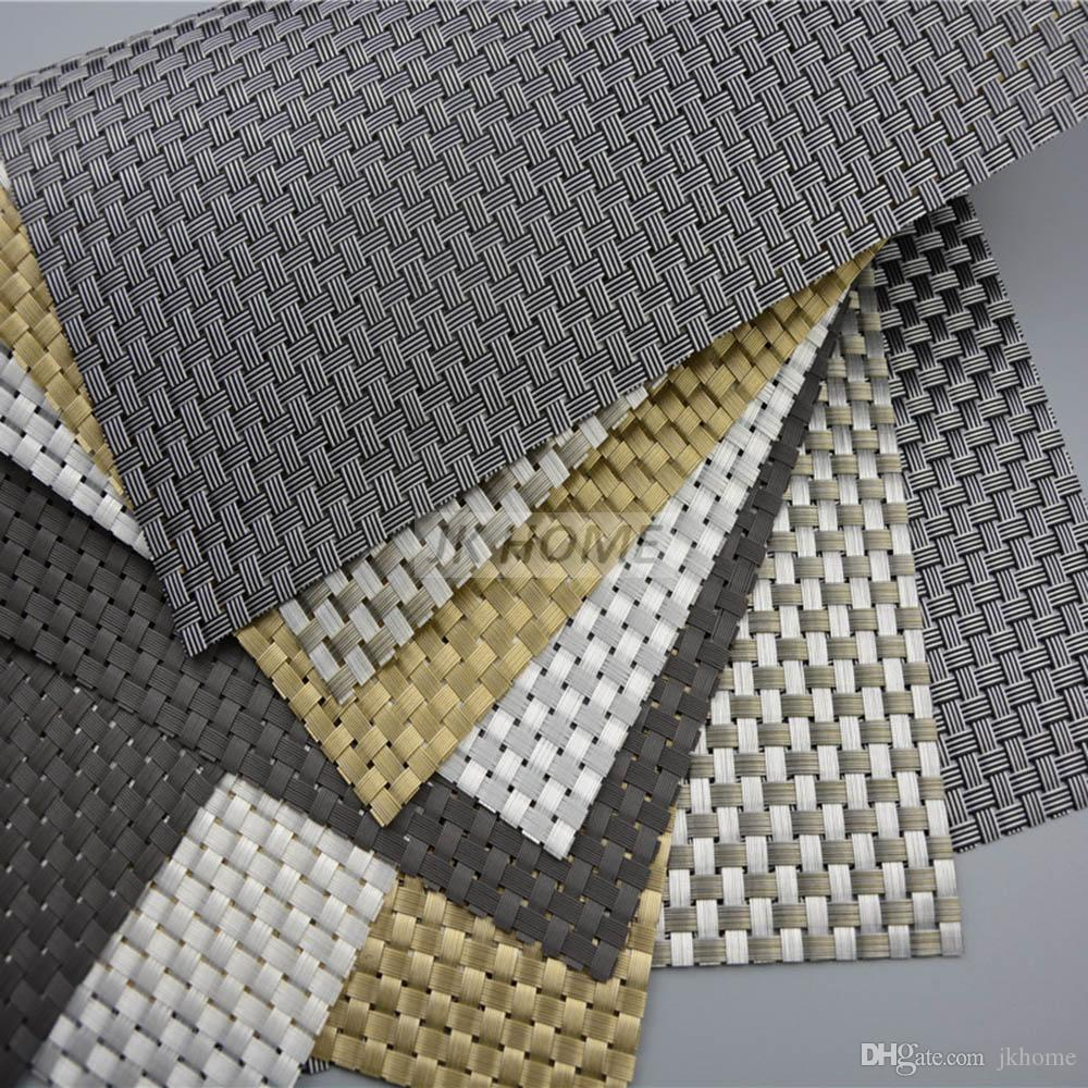 JANKNG Luxury Dinner Placemats PVC Place Table Mats Best Gold Silver Tableware Dinnerware solid Kitchen Table Pads Tools
