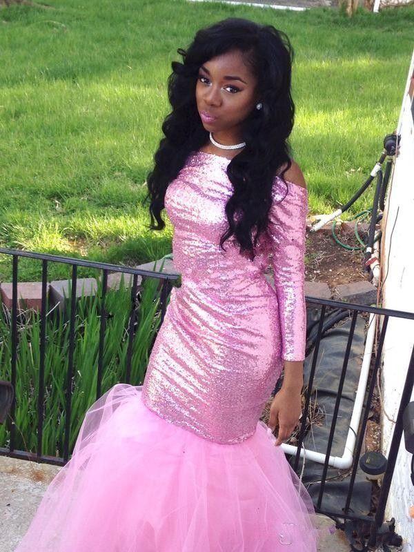 Increíble rosa con lentejuelas vestidos de baile 2016 con manga larga a medida sexy sin respaldo de tul formales vestidos de fiesta de niña negra