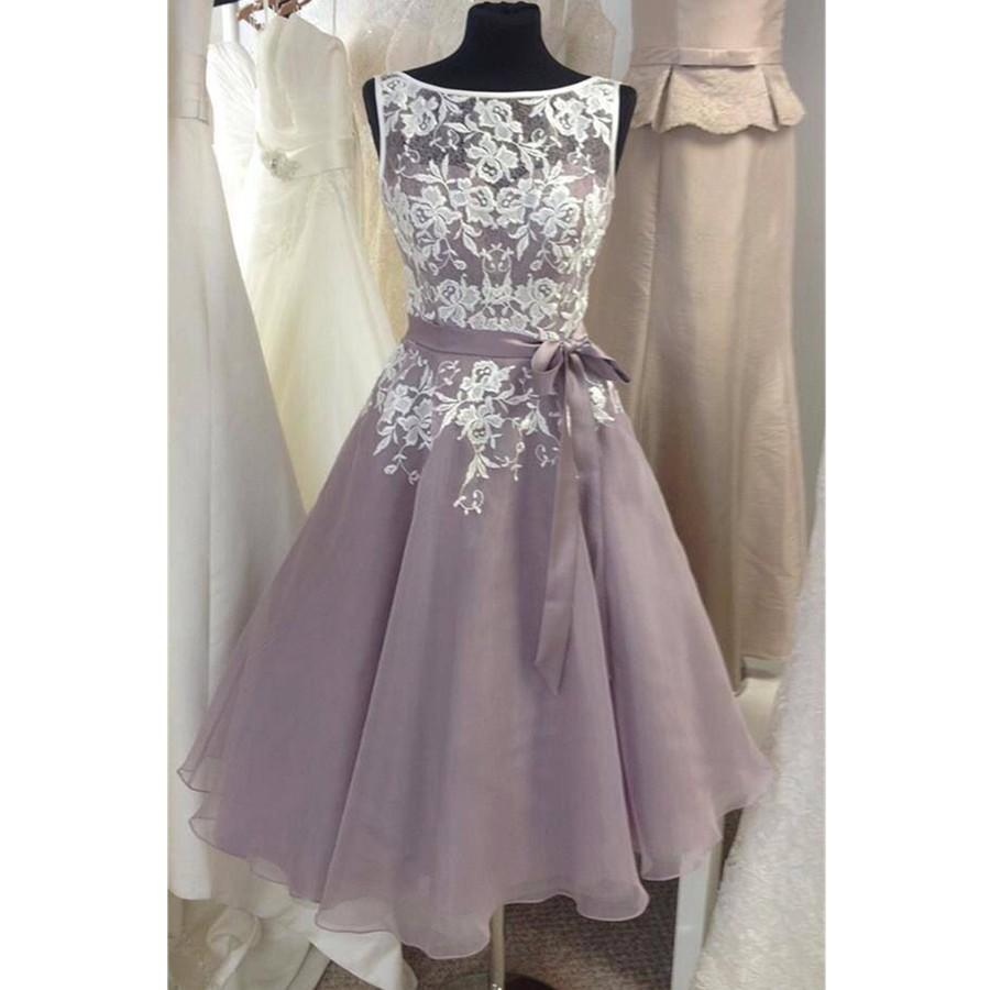 Knee length tulle fino lavender bridesmaid dress with white lace v knee length tulle fino lavender bridesmaid dress with white lace v back short women formal dress for weddings custom size long formal dresses mint green ombrellifo Gallery
