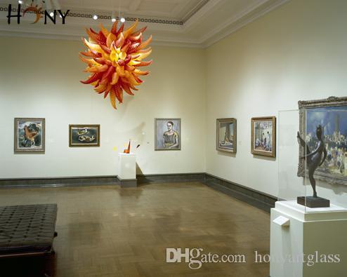 Livraison gratuite LED AC personnalisée Lampe de style moderne Multi Color Belle Top Selling Lustres en verre soufflé