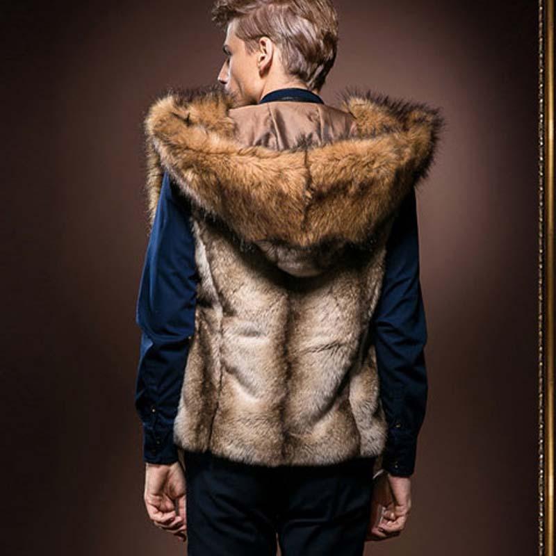 2016 Moda Kış Erkek Kürk Yelek Yeni Hoodie Kalın Kürk Kapşonlu Erkekler Yelekler Kolsuz Kat Kabanlar Erkek Giyim Palto Y279