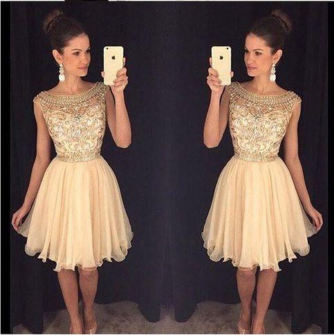 2016 Sparkly Gold Homecoming Dresses Scoop Neck Mini Chiffon Beading Crystal Short Summer Prom Party Dress Graduation Dresses