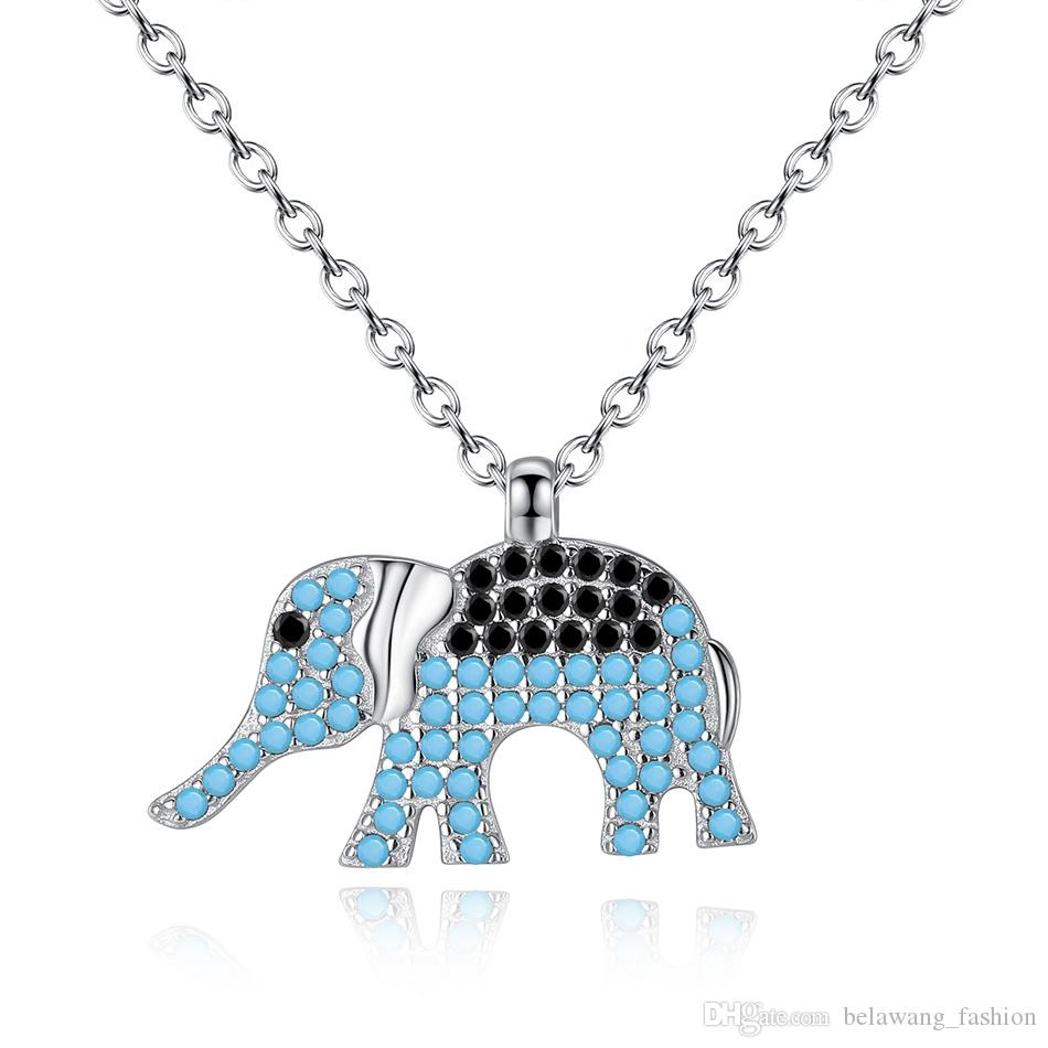 BELAWANG 925 Sterling Silver Animal Necklace Elephant Pendant Necklaces Black&White Cubic Zircon Link Chain Women Jewelry 45cm