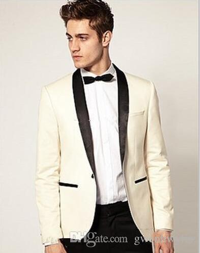 328b502c49 Custom Made To Measure Ivory Tuxedo Jacket Black Lapel Tailored Ivory Wedding  Suits For Men Bespoke Groom Tuxedos Jacket+Pants Dinner Jacket Styles Dress  ...