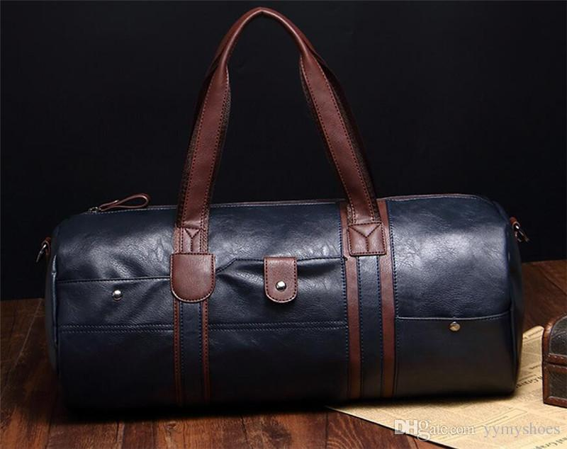 0ae9f28382 2017 High Quality Men Travel Bags Leather Duffle Bag Vintage Men Tote  Shoulder Handbags Weekend Bags Large Big Bag Laptop Bags Totes From  Yymyshoes