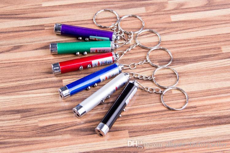 400 stücke RA 2 in 1 Rot Laserpointer + Led weiß Licht Taschenlampe Keychain DHL Fedex Kostenloser Versand