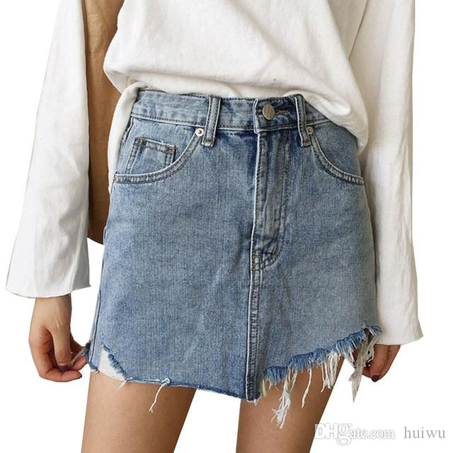 9616ab9ec15 2019 Summer Jeans Skirt Women High Waist Jupe Irregular Edges Denim Skirts  Female Mini Saia Washed Faldas Casual Pencil Skirt From Huiwu