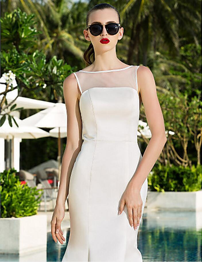 Vestidos de novia Julie Vino Beach Cuello vaina atractivas Modest más el tamaño por encargo de satén y tul vestidos nupciales del tren de barrido
