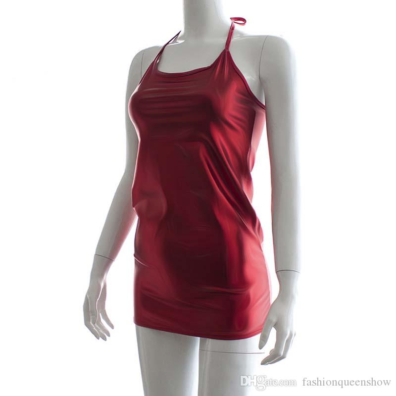 Simple Red Women Bodycon Dress Sexy Halter Sleeveless Mini Dress Summer Backless Bandage Club Party Vestidos