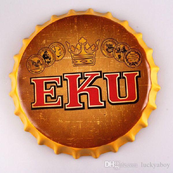 EKU bière bouteille ronde casquette Vintage signe du fer-blanc bar pub maison décor mural en métal affiche