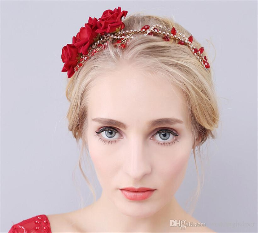Wholesale Wedding Bridal Hair Flowers Headpiece Accessories Headband Rose Crown Tiara Princess Queen Jewelry Hairband Rhinestone Fascinators