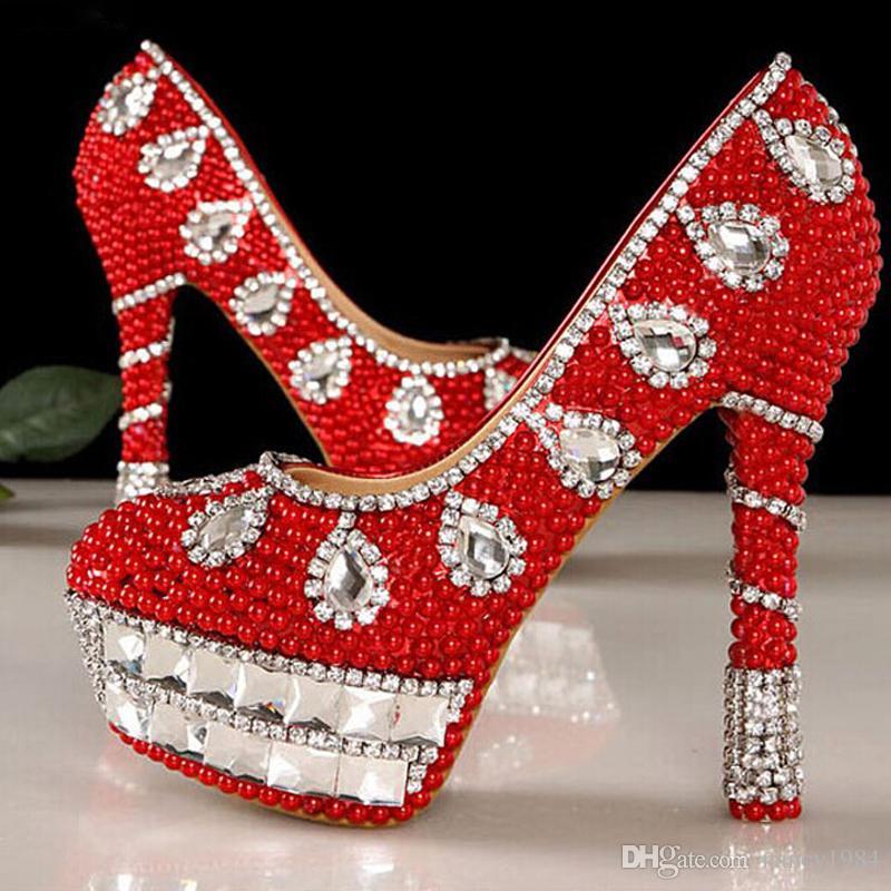 Новые красный кристалл бисером горный хрусталь высокий каблук женщины леди свадебный вечер обуви выпускного вечера партии клуб бар невесты обувь
