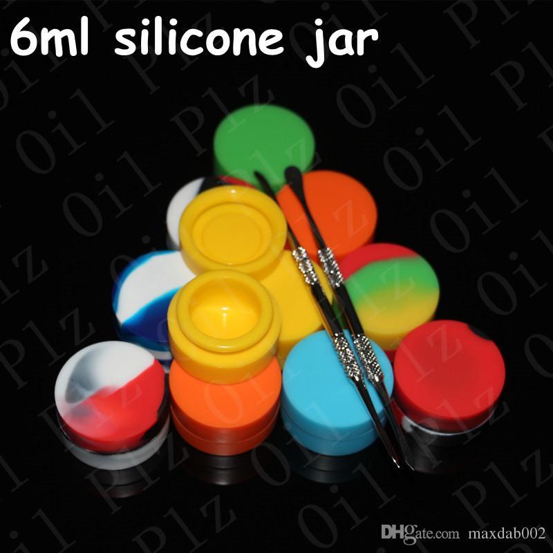 silikongläser tupfen wachsbehälter 6 ml silikonwachs antihaft silikongläser tupfen wachs verdampfer öl glas für e-zigarette großhandel