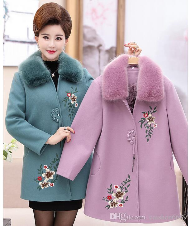 2ace877c1f5 2017 New Fashion Woolen Embroidered Winter Jacket Middle-aged Women ...