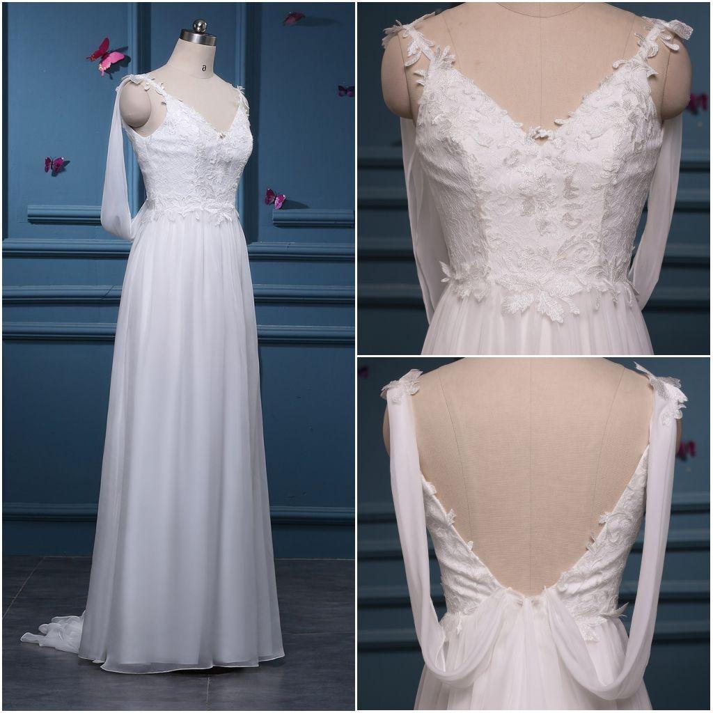 Discount Boho Backless Wedding Dress With Wrap Spaghetti Strap ...