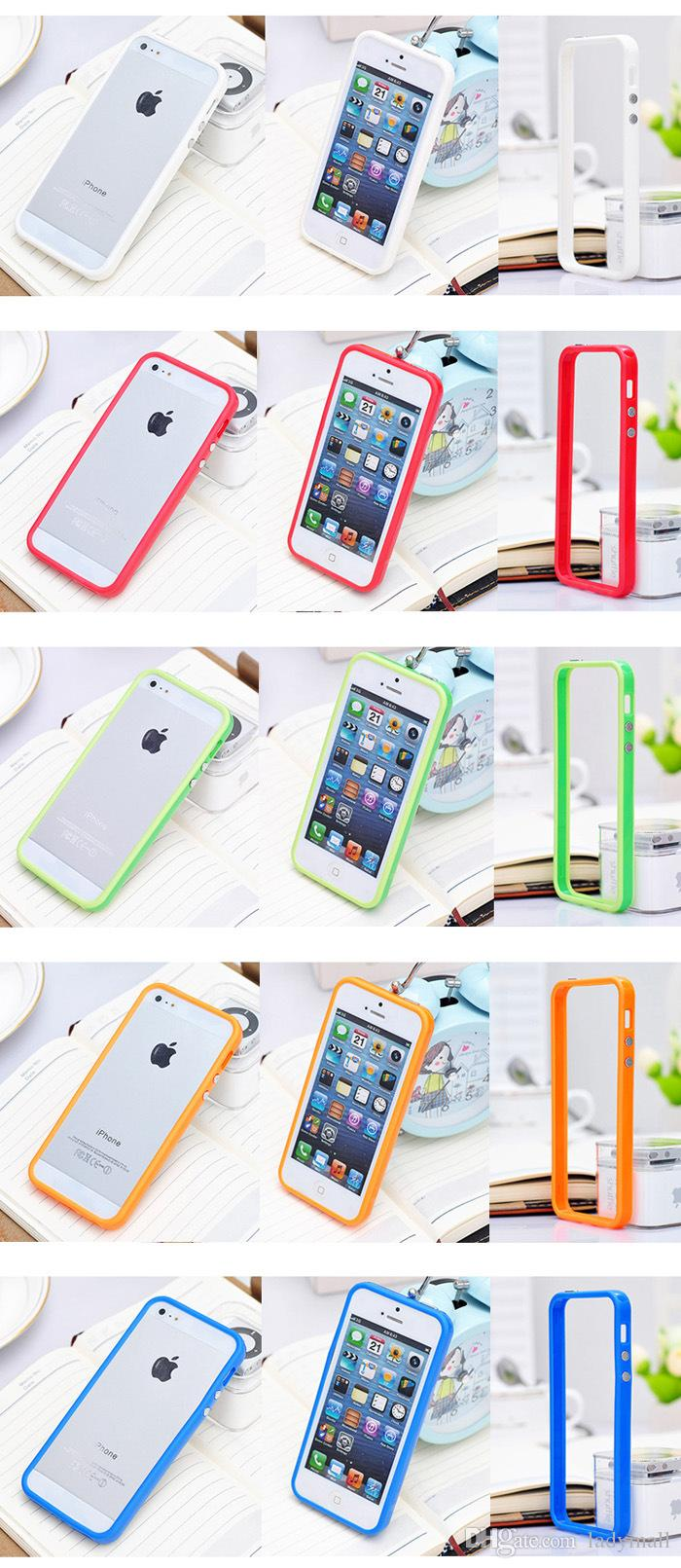 TPU Gel Bumper Frame Metal Button Silicone Case Cover for Apple iphone 6 6S Plus 5 5G 5S 4 4S with retail package boxes