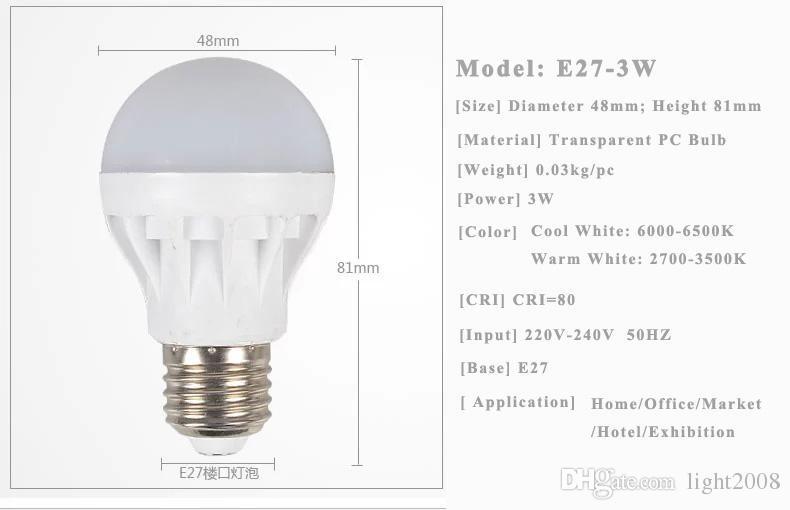 Ücretsiz Kargo Yüksek Kalite 3W 5W 7W 9 W 12W LED Ampuller Enerji tasarrufu Işık E27 B22, E14, Baz Globe Ampul Toptan Ucuz Aydınlatma Lambası 22