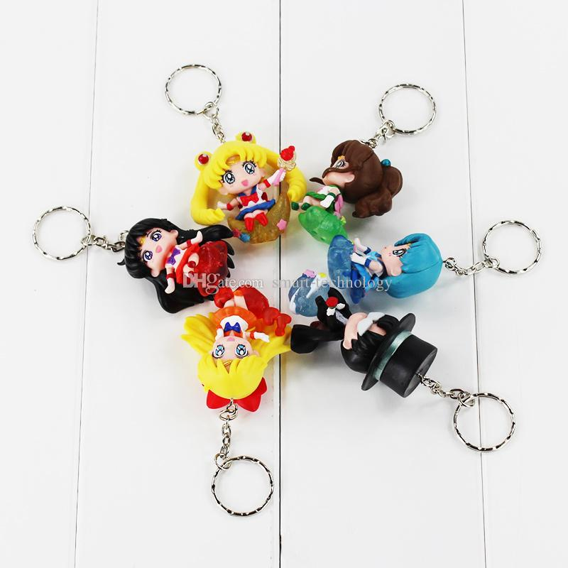Sailor Moon Tsukino Usagi Tuxedo Mask Sailor Venus Mercury Mars Jupiter Keychain PVC Figures Toys