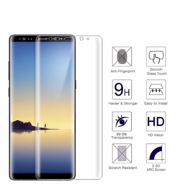 0.2 MM 9H 3D Protecteur D'écran En Verre Trempé Courbé Pour Galaxy Note 8 S8 S7 Bord S6 Bord Plus A5 2017