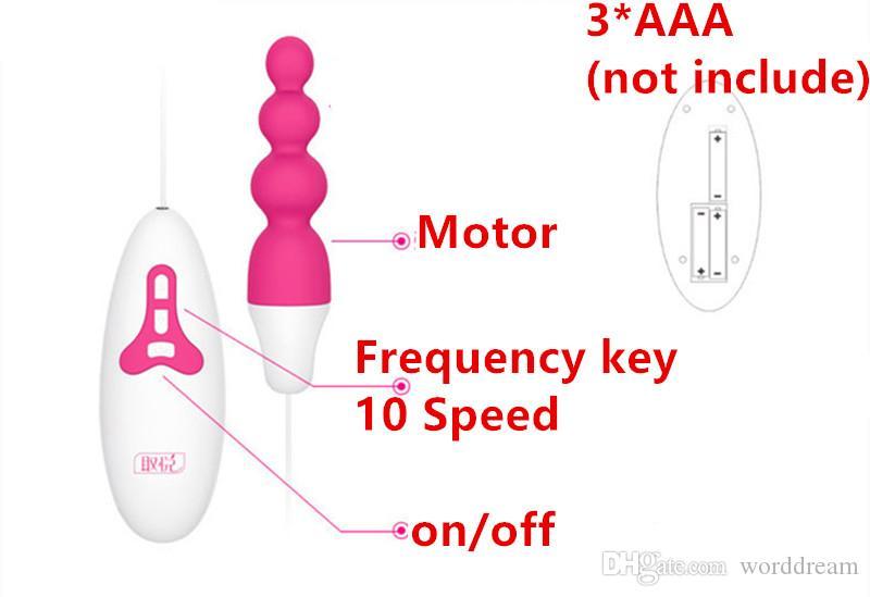 Perle anali del silicone di vibrazione di velocità 10 Butt Plug Anus Vibratore dello stimolatore di piacere nei giochi adulti Giocattoli del sesso le donne e gli uomini