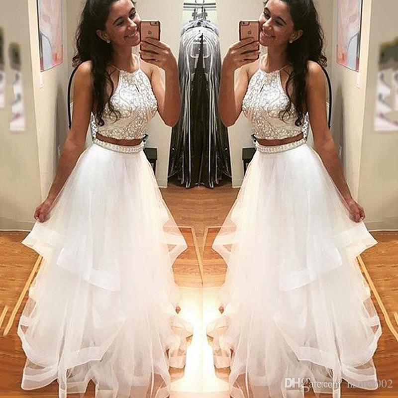 Spaky Crystal Zroszony Długi Prom Dresses Sexy Halter Dwa Kawałki Bez Rękawów Długi Prom Party Dress na Graduation Vestidos Lonos