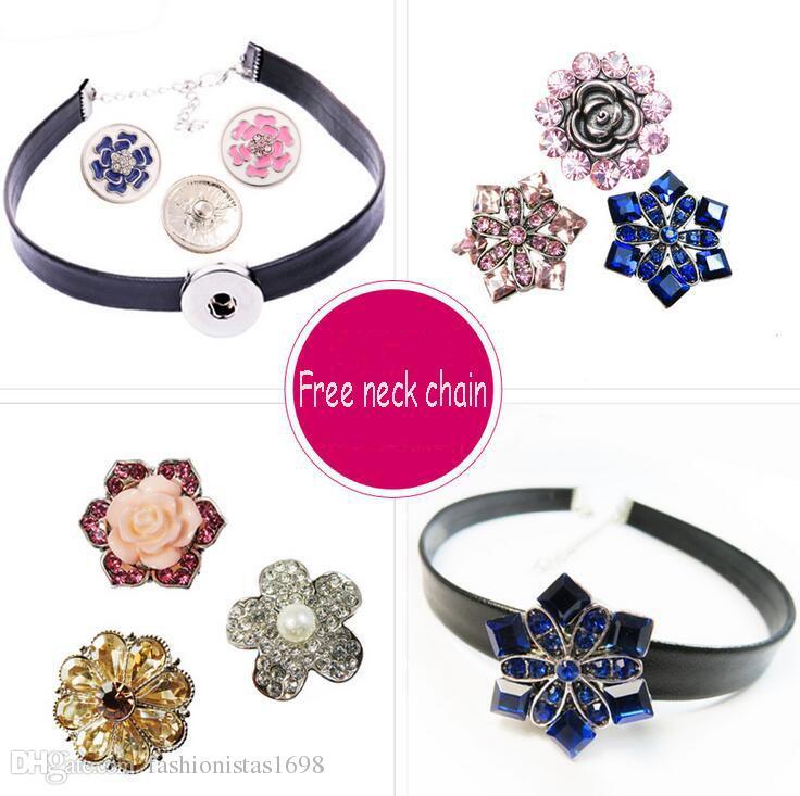 Chaude Snaps bouton bijoux tour de cou costume bricolage remplaçables boutons bouton col chaîne collier + boutons collier costume