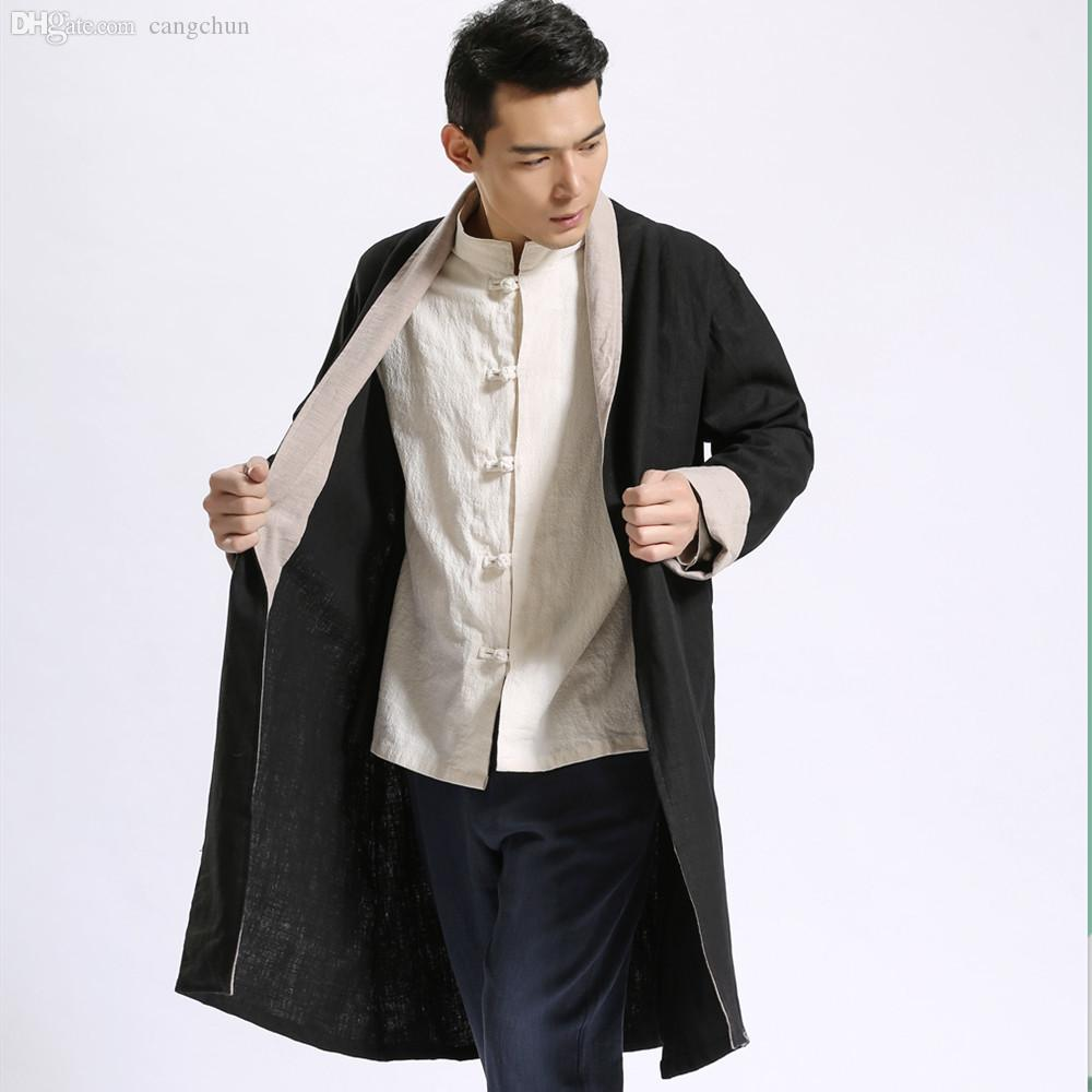 2018 Fall 2016 Autumn Men Trench Coat Chinese Style Long Cardigan ...