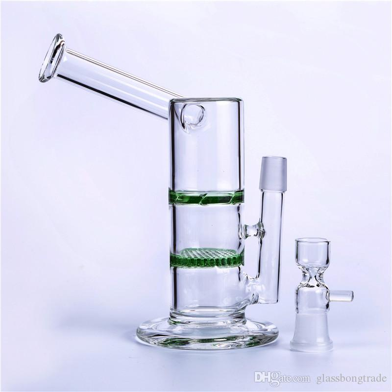 Smoking Bongs!Glass Bongs Oil Rigs Height 7.5 inch 18.8mm Joint Two Function Honeycomb Turbine Ash Catcher Percolator Water Pipes