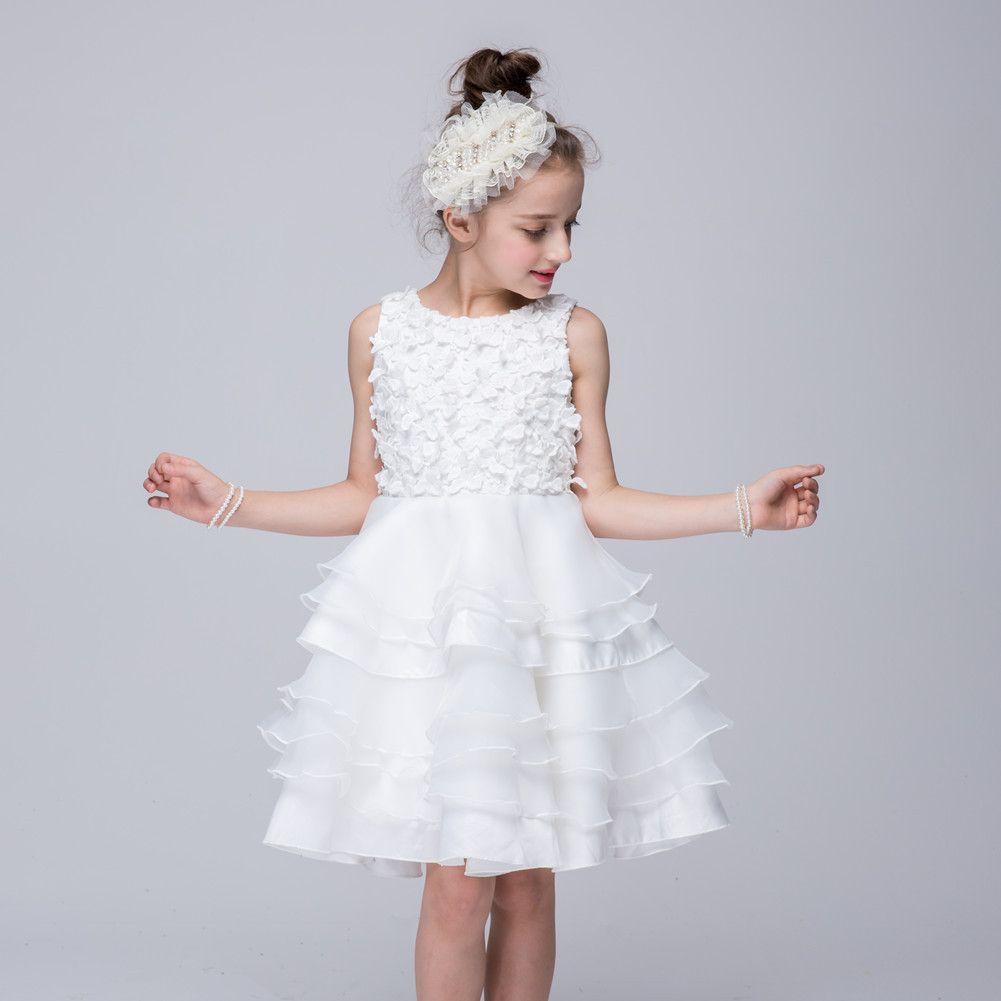 Stock White Organza Dress For Kids A Line Ruffles Flower Girl Dresses Knee Length Girls Pageant Dresses Cheap Toddler Pageant Dresses 55