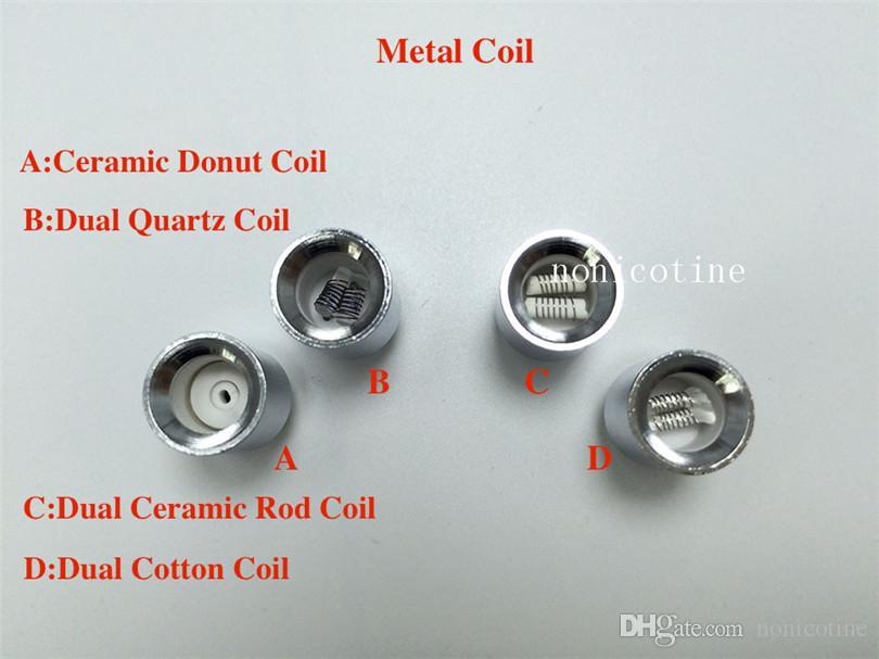 Dual quartz wax coils for cannon vaporizer metal double coil Ceramic Donut Core Glass Globe vase Skull Bowling cartomizer atomizer