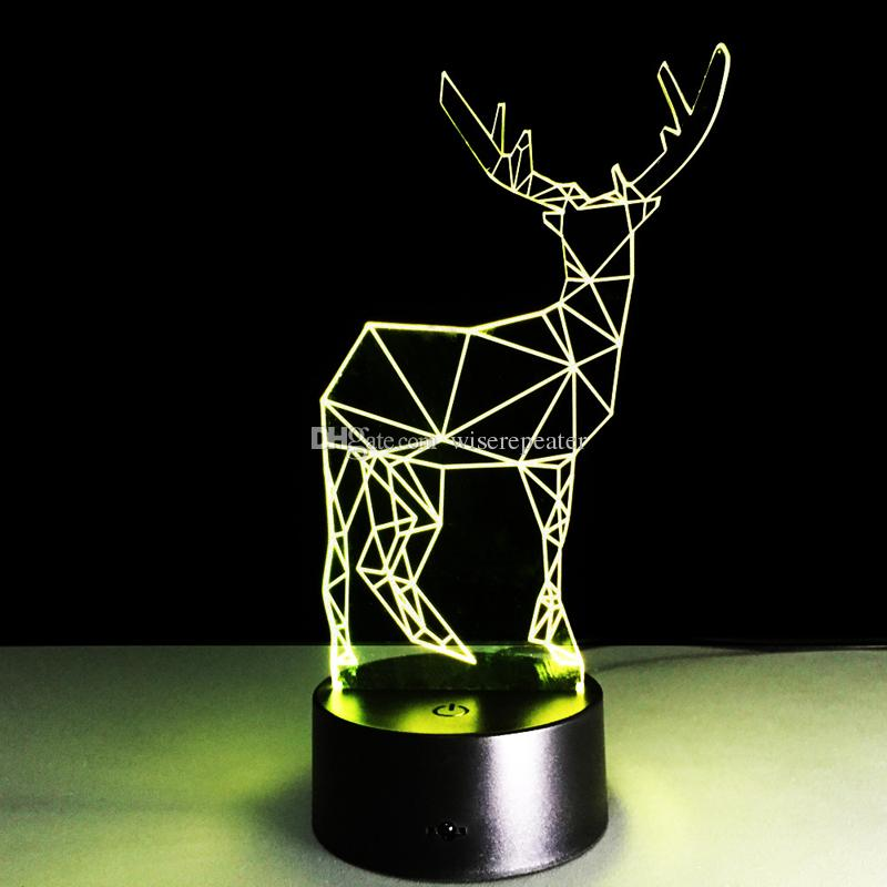 2016 Deer Style 3D Optical Illusion Lamp Night Light DC 5V USB 5th Battery Wholesale Dropshipping Retail Box