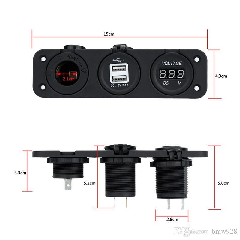 NUOVO adattatore doppio caricatore accendisigari auto USB dual accendisigari + voltmetro digitale motobike ATV