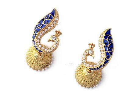 Fashion Long Drop Animal Earrings 18K guldpläterad inlägg Färgrik Crystal Peacock Örhängen för kvinnor ER0086-C, ED01093