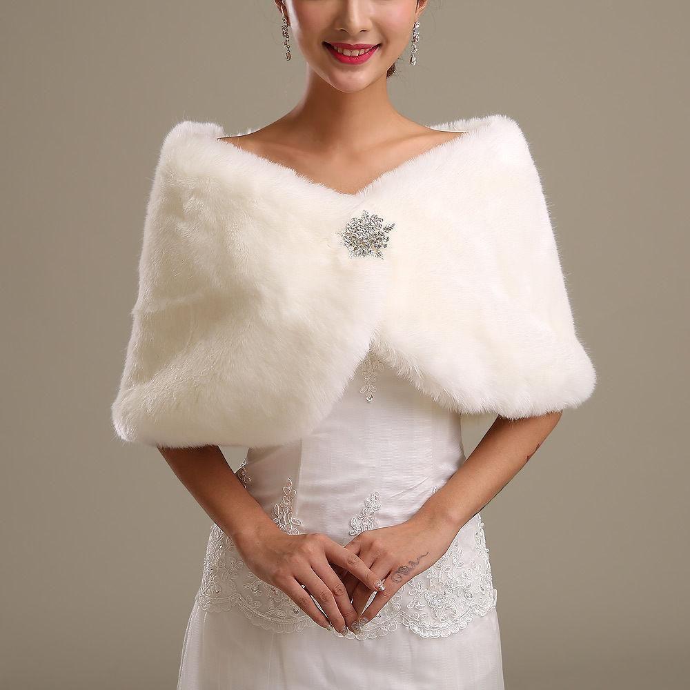 New Winter in Stock Warm Ivory WHITE BLACK Faux Fur Wedding Dress Big Shawl Wrap Shrug Bolero Bride Coat/women Jacket Accessories 25 Style