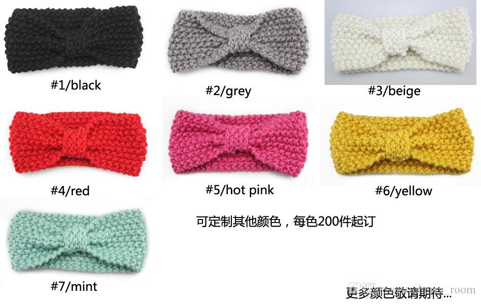 2016 Baby Girls Hair Accessorie Butterfly knitting Kids Hair Band European style big bows headwear ear protection headwear H149