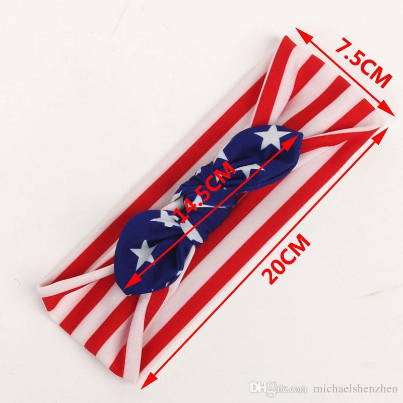 Bebé Bandera Americana estrellas euro raya bowknot 3 Bandas de Diseño Encantador Lindo Arco Lindo Banda para el Cabello Headwrap Niños Accesorios Elásticos B001