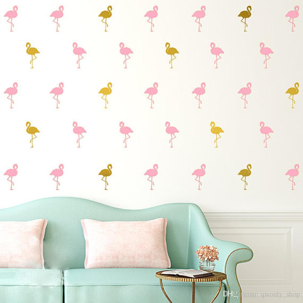 Pink Flamingo Wall Stickers White Little Swan Wall Decals Removable Child Room Decoration DIY Art Wall Decors Black/Gold/Silver/Grey